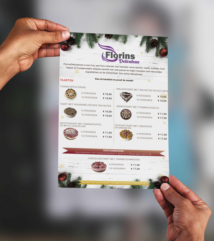 Kerst Flyer voor Florins Delicatesse